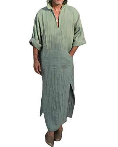 Taoliyuan Mens Abaya Thobe Linen Hooded Henley Shirt Arabic Kaftan Shirt Robe with Pocket ()