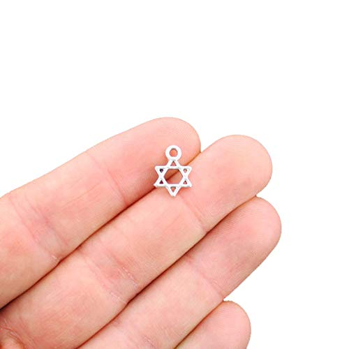 (20 Star of David Charms Antique Silver Tone 2 Sided Small Size - SC2466)