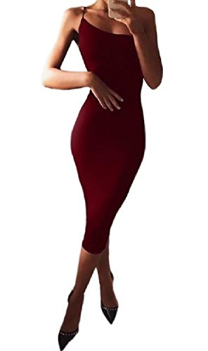 Women High Sexy Silm Club Red Strap Coolred Wine Dress Step Evening One Waisted Fit Bdxwxz05q