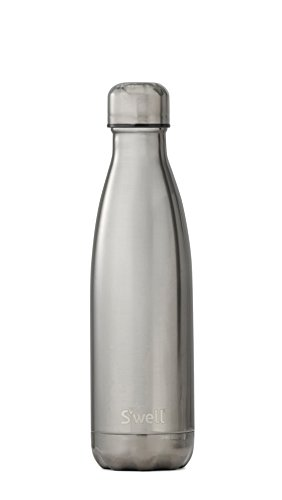 S'well Vacuum Insulated Stainless Steel Water Bottle, Double Wall, 17 oz, Titanium, Metallic Collection