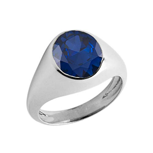 Elegant Sterling Silver Solitaire September Birthstone Gentleman's Pinky Ring (Size 5.5)