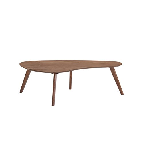 Walnut Drop - Emerald Home Simplicity Walnut Brown Coffee Table with Curved, Tear Drop Shaped Top and Round, Slanted Legs