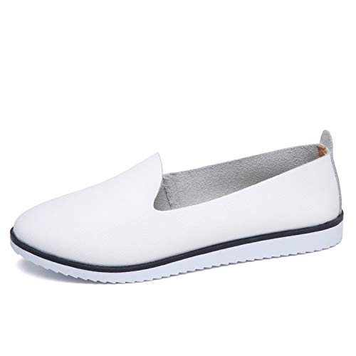 Women Ballet Flats Shoes Genuine Leather Slip on Ladies Shallow Moccasins Casual Shoes Female Summer Loafer Shoes Women,White KLB 9927,41
