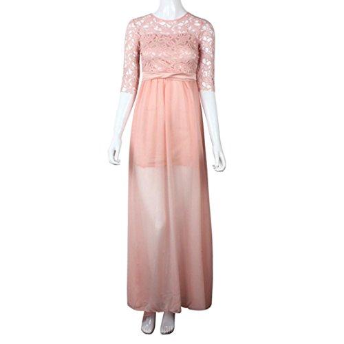 Chiffon Coper Elegant Women's Pink Dress Evening Beautiful Dress Dress Lace AUqwTXWq