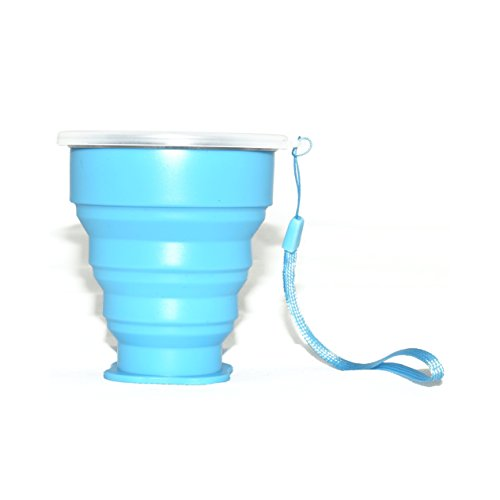 HI-QUAL Telescopic portable water cup,Collapsible Water Bottle,Silicone Collapsible Travel Cup for Outdoor Camping and Hiking,Travel Cup,Collapsible Cup,Camping Cup,Foldable,Easy to Carry-Blue