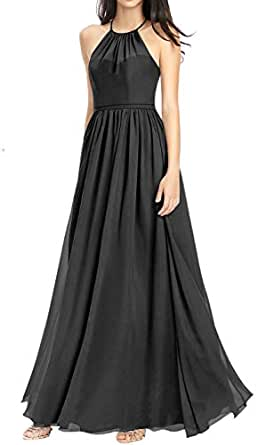 Jonlyc A-Line Halter Chiffon Open Back Long Bridesmaid Dresses Evening Gowns Black 18W