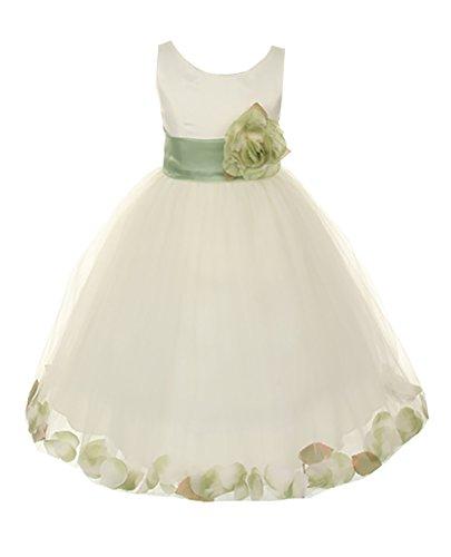 Cinderella Couture Little Girls' Satin Tulle Petal Dress Ivory/Sage 4 (1170)