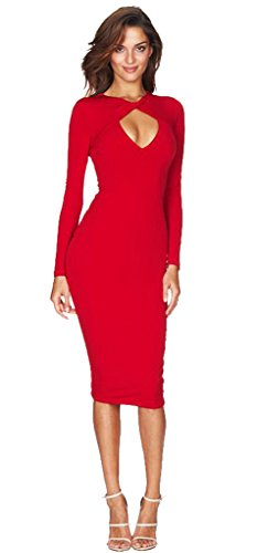ALAIX Women's Sexy Long Sleeve Deep V Bodycon Bandage Cocktail Dress Red-S