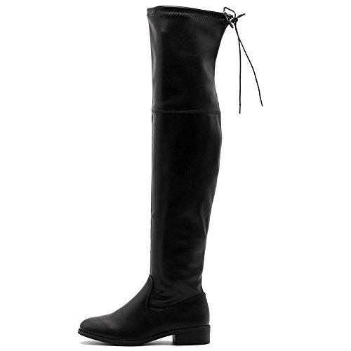 Ollio Damen Schuh Kordelzug Stretch Faux Suede oder Kunstleder Overknee Zip Up Long Boots Schwarz-PU