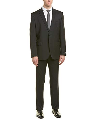 Kenneth Cole New York Men's Slim Fit Solid Suit, Black 44 Regular