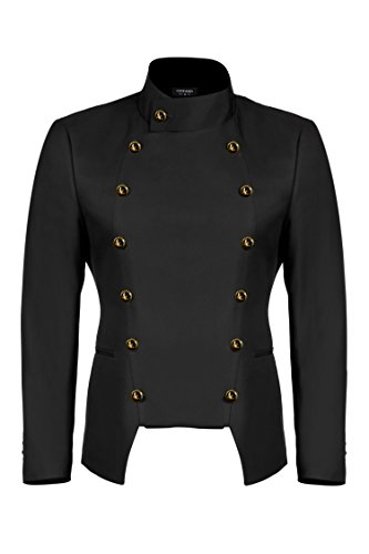 JINIDU Men's Casual Double-Breasted Suit Coat Jacket Business Blazers Black -