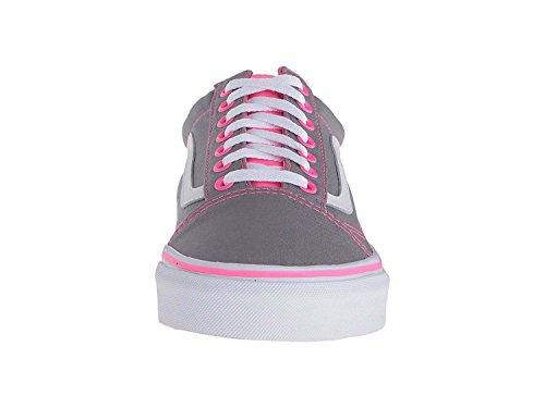Bestelwagens Unisex Old Skool Classic Skate Schoenen Frost Grey / Neon Pink