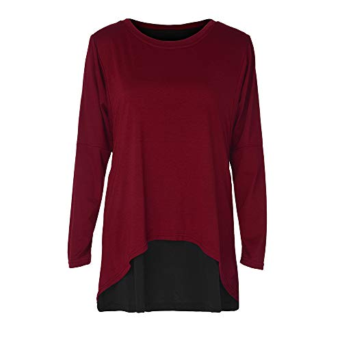 Henleys,Toimoth 2PCS Fashion Womens Long Sleeve O-Neck Button Patchwork Long Sleeve T Shirt Tops Tunics(Wine,S)