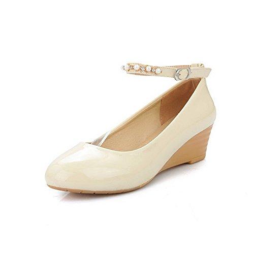 Balamasa Dames Boucle Boucle Ronde-orteil Pompes-chaussures En Uréthane Beige