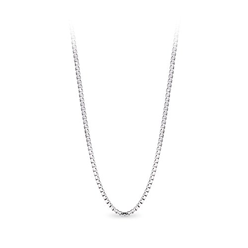 T400 Jewelers 925 Sterling Silver 1.5mm Box Chain Italian Necklace Women Men Unisex ()