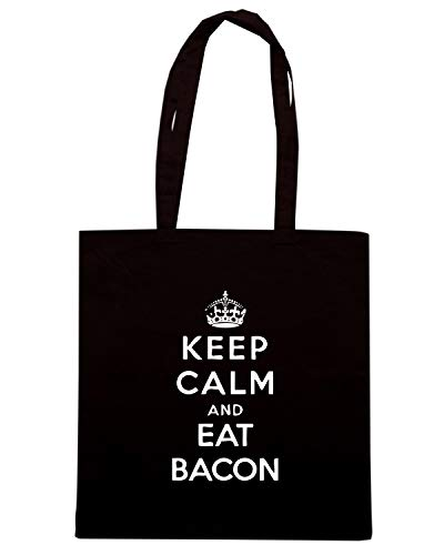 KEEP CALM BACON WES0928 Nera EAT Shopper RED Borsa xqPaTtwC
