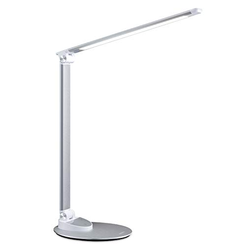 - LED Desk Lamp with USB Charging Port, Miroco Aluminum Alloy Table Lamps with Memory Function, 5 Color Temperatures, 5 Brightness Levels, Touch Switch, Eye-Caring and Energy Saving