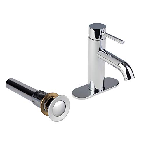 - Fontaine by Italia 81H13-CHR-DP-SDO Modern Contemporary Euro 3 Hole Centerset Single-Handle Bathroom Lav Wash Basin Faucet Tap with Deck Plate and Metal Drain IAPMO and CUPC certified in Chrome