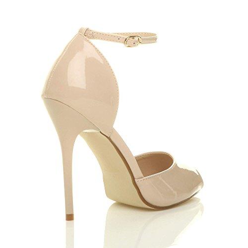 Aiguille Sangle Haut Sandales Beige De Talon Verni Peep Boucle Chaussures Femmes Cheville Toe Escarpins Pointure gq4wExtf