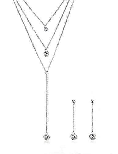 Lariat Set Earrings - Mealguet Jewlery 3 Layered Multilayer Cubic Zirconia Charm Lariat Sexy Long Chain Y Necklace Dangle Earrings Jewelry Set,