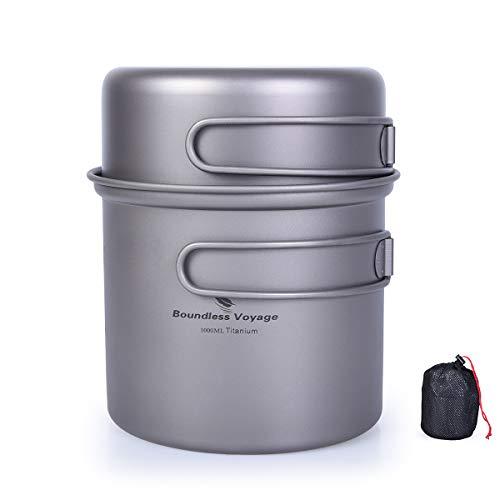 (iBasingo 2 piece-set Titanium Bowl Pot Set with Folding Handle Outdoor Camping Picnic Pan Ultralight Cooking Tableware Picnic Dishes 1000ml & 500ml)