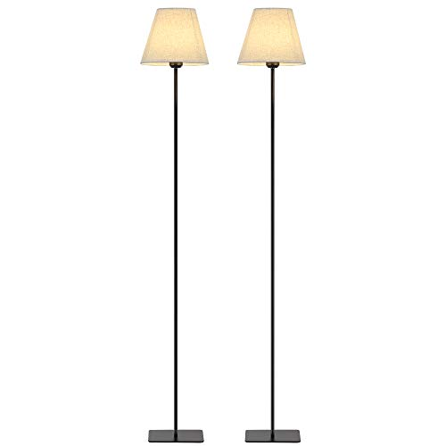 HAITRAL Set of 2 Floor Lamps - Modern Tall Floor Lights with Fabric Shade, Reading Standing Light Lamps for Living Room, Bedroom, Den, Office - Metal Finish, Black