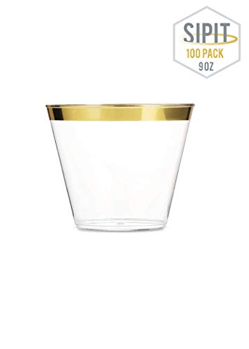 SIPIT Gold Plastic Cups 9oz   100 Wedding Plastic Party Cups For Adults   Disposable Cups Clear Plastic Tumblers   Durable Plastic Cocktail Cups   Plastic Wine Cups Perfect For Any Occasion   BPA Free