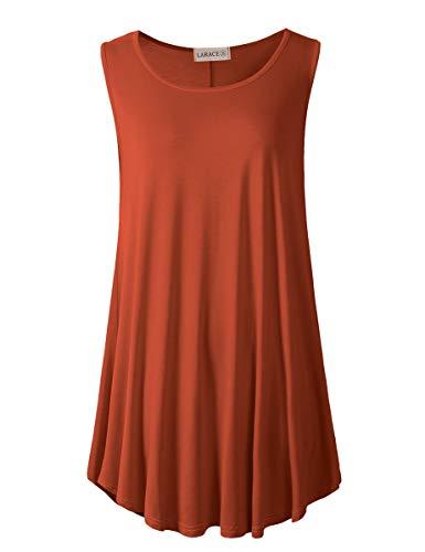 LARACE Women's Solid Flowy Tunic Top Sleeveless Shirt(2X, Dark Orange)