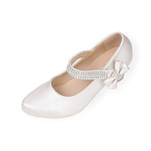AISLE STYLE Little Girls Pageant Dress Shoes Maryjane Low Heels Princess Formal Wedding Sparkle Pump Rhinestone Strap Leather Hill Ivory Big Kid Size1