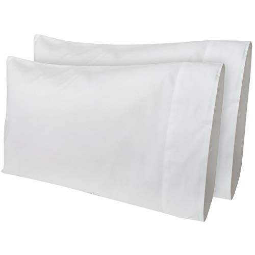 AB Lifestyles 2 Pack 12x18 300 Thread Count 100% Cotton Travel Pillowcase Fits MyPillow Go Anywhere Pillow, Travel Size, Toddler Size Pillowcase, Color: White (Made in The USA!) ()
