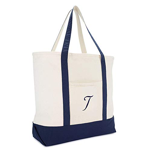 DALIX Monogram Tote Bag Personalized Initial Navy Blue -T