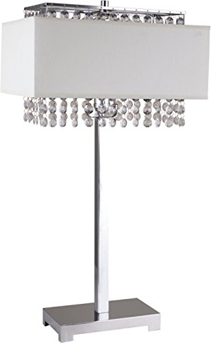 Ore International 733WH Square Crystal Table Lamp, 28-Inch Height, White