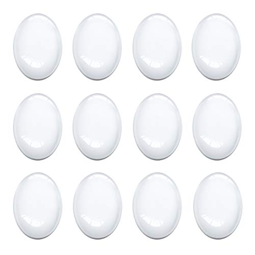 Oval Cabochon 30x40 mm for Jewelry Making 50 PCS Glass Cabochons with Flat Backs Glass Dome Tiles Clear Cameo for Pendants Magnets and Crafts (50 PCS, 30x40MM) (1 X 2 Glass Tile)