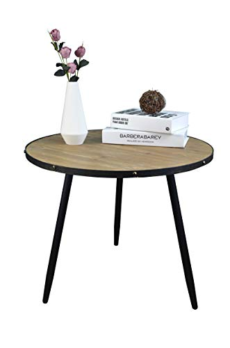AOJEZOR Coffee Table,End Table,Bedside Table,Nightstand,Sofa Side Table, Round Home Furniture for Small Space,Under 100,Metal & Wood,Accent Brown & Black
