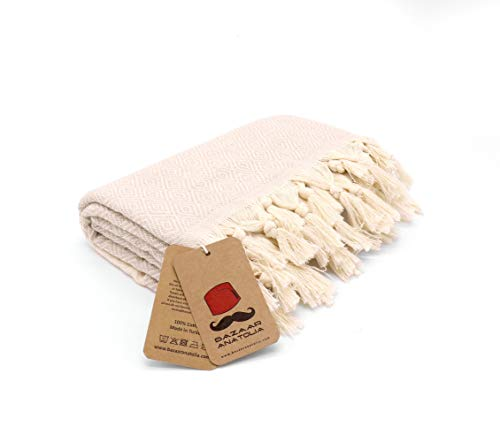 """Bazaar Anatolia Diamond Turkish Towel 100% Cotton Peshtemal Bath Towel 77x38 Thin Lightweight Travel Camping Bath Sauna Beach Gym Pool Blanket Fouta Bridesmaid Gift Quick Dry Towels (Cream) - HIGH QUALITY: Bazaar Anatolia Turkish towels are made in Turkey with high quality cotton. Quick dry towel absorbs water quite fast and dries very quickly without mildewy smell. Becomes softer and absorbent after several washes. MATERIAL and SIZE: 77x38"""" (196x98cm) 15 oz (420 Grams) Natural-dyed, pure 100% cotton, no harmful substances or chemicals, eco-friendly. Turkish beach towel is easy to carry, large and takes up less space. MULTI-PURPOSE: You can use as beach towel, bath towel, pool towel, bath towel, scarf, shawl or blanket. Also Turkish towels can be a unique idea for bridesmaid gifts, bachelorette party favors and wedding favors. You can use the pehstemal towel as a scarf on the outside, as a shawl on the terminal, as a travel blanket on an airplane, and as beach towels or turkish beach blanket when you get off the plane and go to the beach. - bathroom-linens, bathroom, bath-towels - 31 nYvbAXtL -"""