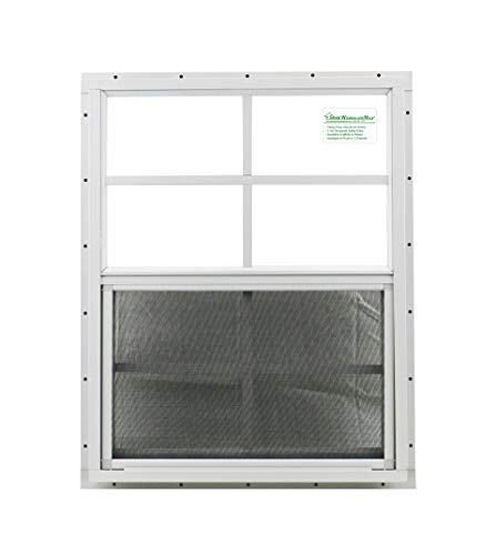 Shed Window 18″ X 23″ White J-channel Mount, SAFETY/TEMPERED GLASS Storage Shed, Playhouse