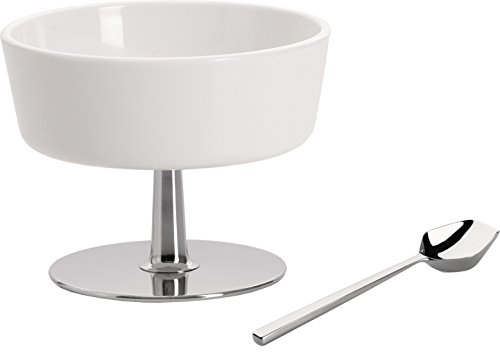 """Alessi""""Ape"""" Bowl For Mixed Nuts in Thermoplastic Resin With Stand And Spoon in 18/10 Stainless Steel Mirror Polished, White"""