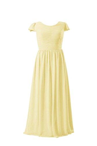 Daisyformals Robe Longue Robe Modeste De Demoiselle D'honneur En Mousseline De Soie W / Mancherons (bmp760) # 24 Banane