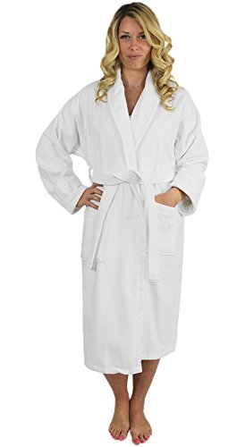 - Indulge Linen Terry Velour Bathrobe, Shawl Collar, 100% Cotton, Made in Turkey (White, XXL)
