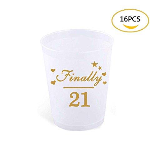 21th Birthday Stadium Cups, FATPET 16Pcs Finally 21 Birthday Party Stadium Cup (16pcs)