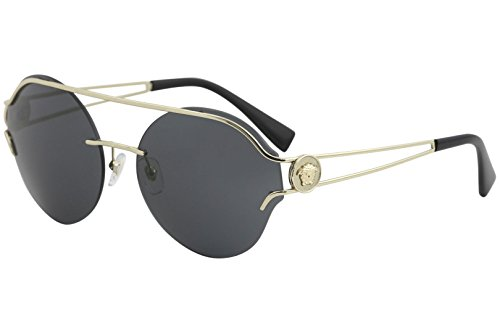 Versace Womens Sunglasses Gold/Grey Metal - Non-Polarized - - Round Versace Sunglasses