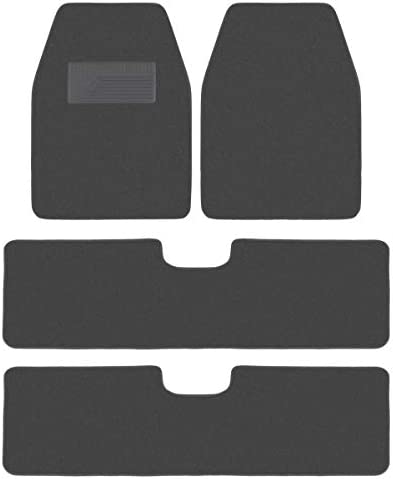 BDK USA 3 Row All Season Heavy Duty Carpet Floor Mats for Truck Van – 4 Piece – Universal Fit (Charcoal)