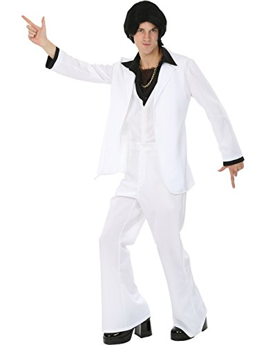 Mens White 70s Disco Suit Saturday Night Outfit Halloween Costume Extra Large (Disco Fever Outfits)