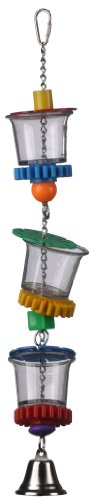 Super Bird Creations SB632 Foraging Bottom's Up Bird Toy With Clear Acrylic Cups & Ringing Bell, Medium to Large Size, 18
