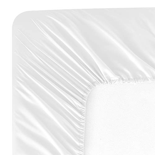 (Wavva Bedding Modern Solid Color Fitted Sheet - 1800 Hotel Collection Deep Pocket Brushed Velvety Microfiber (Twin, White))