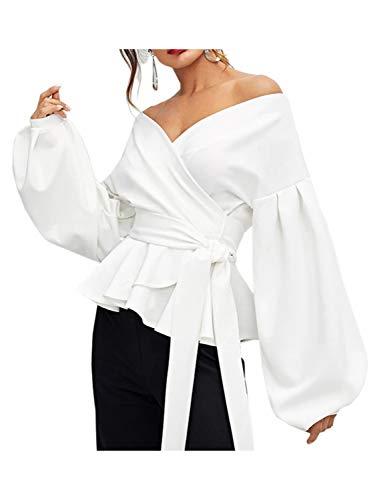 DEEBAI Women's Elegant V Neck Puff Sleeve Tunic Tops Belted Wrap Dressy Blouse ()