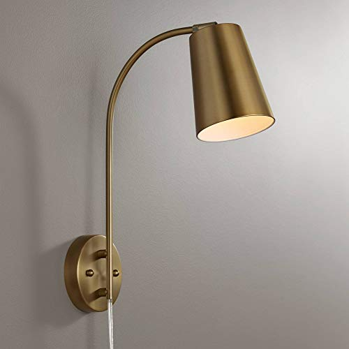 Lamps Plus Brass Sconce - Sully Warm Brass Plug-in Wall Lamp - 360 Lighting