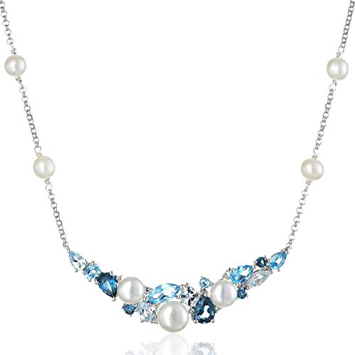 Sterling Silver Cluster Freshwater Cultured Pearl and Mixed Blue Topaz Diamond Accent Necklace