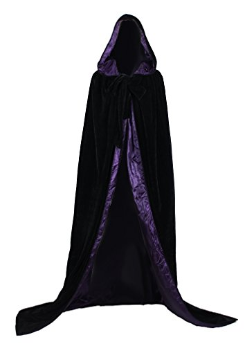 ANGELWARDROBE Black Velvet Wedding Cape Purple Silk Halloween Hooded Cloak XXXXL