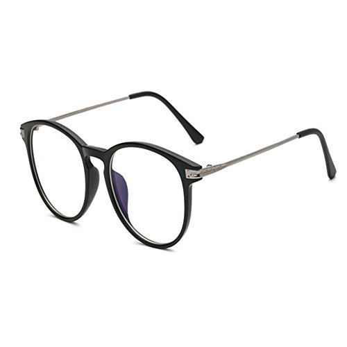 Meijunter Blue Light Filter Glasses Anti Radiation UV Clear Lens Computer Vintage Round Eyewear - Male Frame